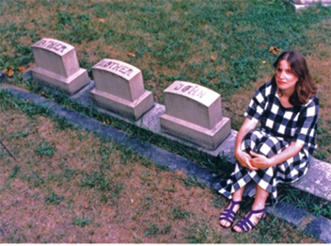 Photo of me, circa 1986, taken by my brother John in a graveyard he found (he finds graveyards often).