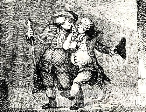 "Dr Samuel Johnson and James Boswell walking up the High Street, Edinburgh, from a print by Thomas Rowlandson, 1786. ""Mr Johnson and I walked Arm in Arm up the High Street to my House in James Court; it was a dusky night; I could not prevent his being assailed by the Evening effluvia of Edinburgh."" As we marched along he grumbled in my ear ""I smell you in the dark."""