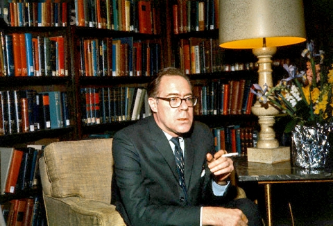 John Berryman, poet, who jumped from a bridge in 1972, waving goodbye