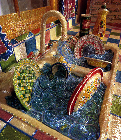 Detail from Liza Lou's Kitchen, a full size replica made of tiny beads.